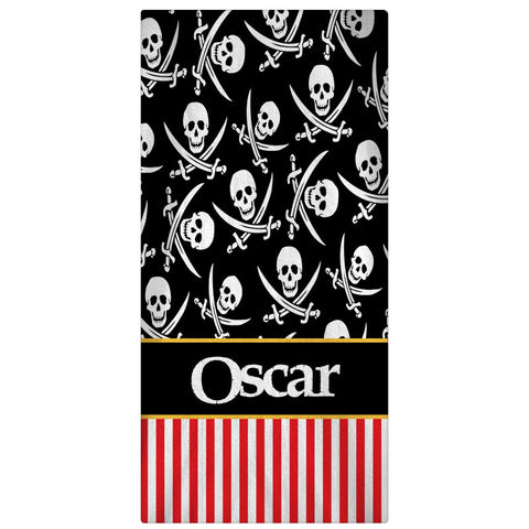 Pesonalized Beach Towel Pirates - Black - Designs by Dee's Hands