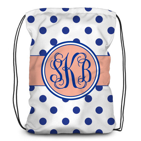 Drawstring backpack, tote - Polka Dots (w) - Designs by Dee's Hands  - 1