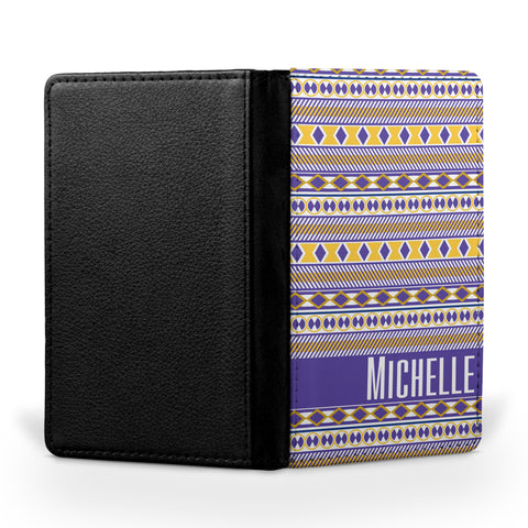 Personalized Passport Cover, Passport Holder - Purple & Gold Tribal