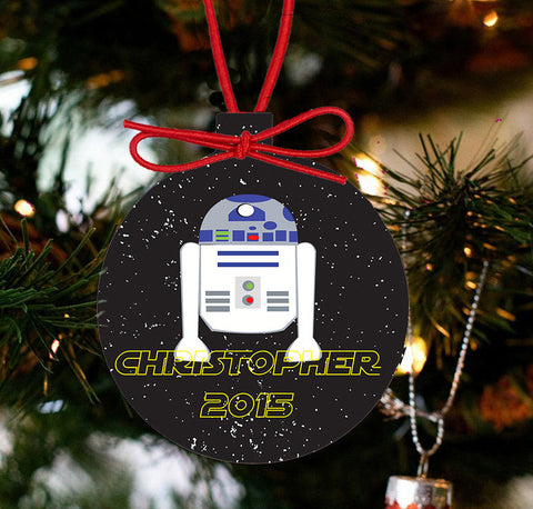 Personalized Christmas Star Wars Ornament - R2D2 - Designs by Dee's Hands