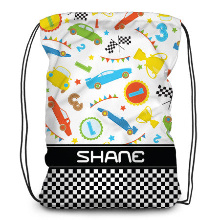 Drawstring backpack, tote - Race Cars - Designs by Dee's Hands