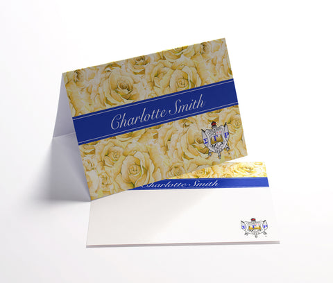 Folded Notecards or Flat Note Cards Stationery - Sigma Gamma Rho Sorority Personalized Yellow Rose - Designs by Dee's Hands