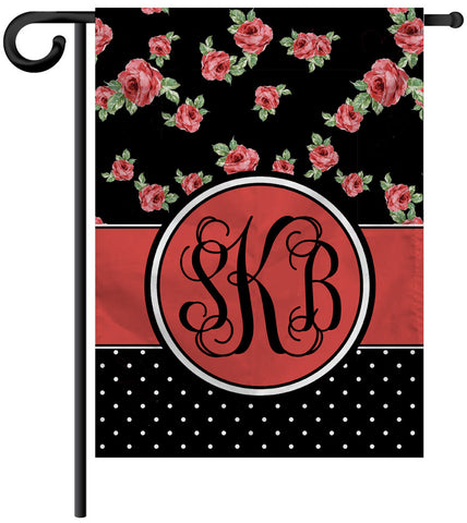 Garden Yard Flag or House Flag Banner - Roses and Dots - Designs by Dee's Hands  - 1