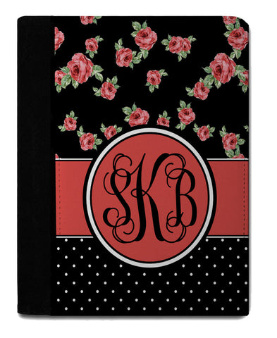 Personalized Padfolio Notebook, Roses and Dots - Designs by Dee's Hands  - 1