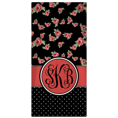 Beach Towel,  Roses & Dots - Designs by Dee's Hands