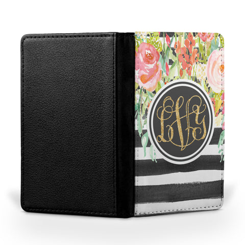 Personalized Passport Cover, Passport Holder - Rosewater Floral