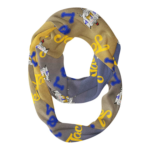 SGRho Adult Infinity Scarf Royal Blue & Gold Ombre w/Personalized Name & Chapter Letters - Designs by Dee's Hands  - 1