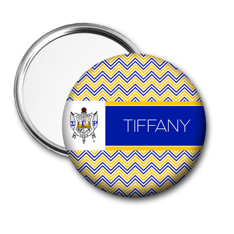 "SGRho Personalized 3"" Pocket Mirror - Chevron - Designs by Dee's Hands"