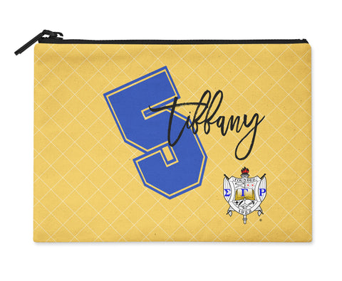 Accessory Bag, Coin Purse, Makeup Pouch, Personalized Zippered Pouch - Sigma Gamma Rho - Designs by Dee's Hands