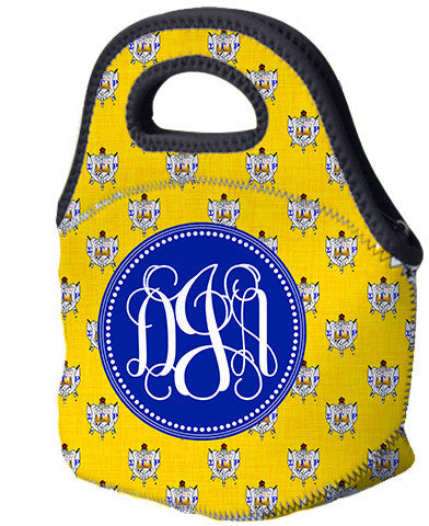 SGRho Monogrammed Lunch Tote - ΣΓΡ Sorority Shield Monogram (optional) - Designs by Dee's Hands  - 1