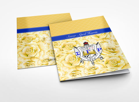 "SGRho - 2"" Pocket Folder Personalized SGRho Yellow Tea Rose, Gold and Royal Blue - Designs by Dee's Hands  - 3"