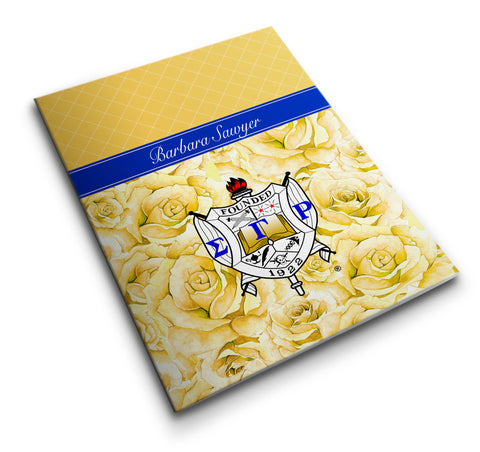 "SGRho - 2"" Pocket Folder Personalized SGRho Yellow Tea Rose, Gold and Royal Blue - Designs by Dee's Hands  - 1"
