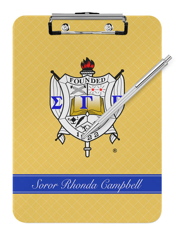 Sigma Gamma Rho Personalized Dry Eraseable Clipboard - Designs by Dee's Hands