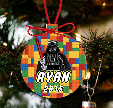 Personalized Christmas LEGO Ornament - Lego Movie Character Darth Vader - Designs by Dee's Hands