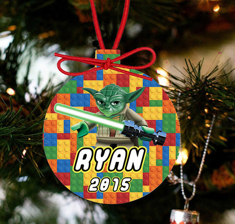 Personalized Christmas LEGO Ornament - Lego Movie Character Yoda - Designs by Dee's Hands