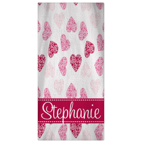 Personalized Beach Towel, Scatterd Hearts Monogrammed Towel - Designs by Dee's Hands