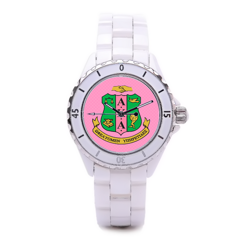 Alpha Kappa Alpha Sorority Boyfriend Watch - White - Designs by Dee's Hands