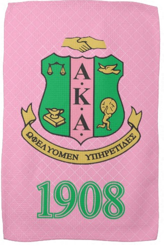 Custom Gym Towel 8 x 12 or 11 x 18 - Sorority Alpha Kappa Alpha Shield & 1908 - Designs by Dee's Hands