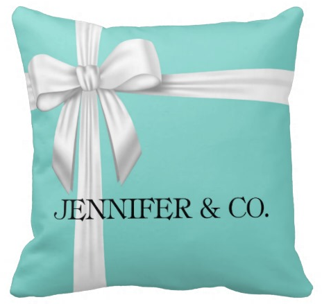 Personalized Tiffany Blue Box Inspired Throw Pillow - Designs by Dee's Hands