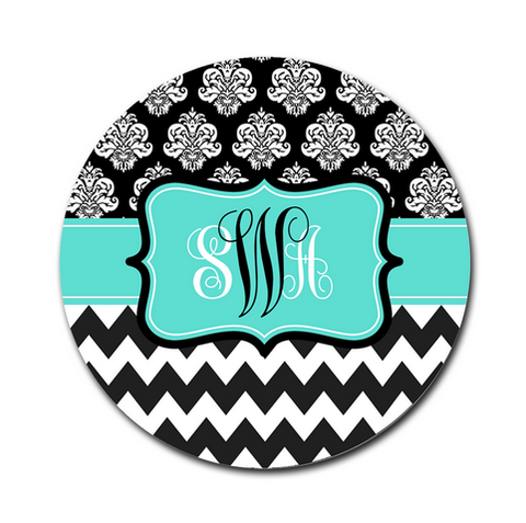 Mouse Pad, Damask and Chevron Black & Turquoise - Designs by Dee's Hands