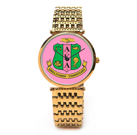 Alpha Kappa Alpha Sorority Boyfriend Watch - Silver or Gold - Designs by Dee's Hands  - 2
