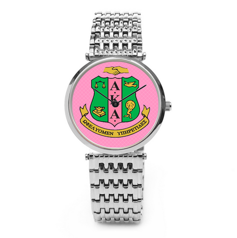 Alpha Kappa Alpha Sorority Boyfriend Watch - Silver or Gold - Designs by Dee's Hands  - 1