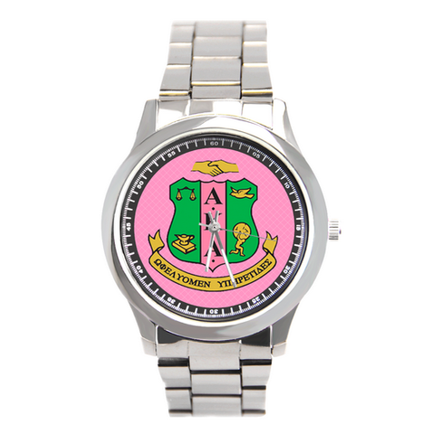 Alpha Kappa Alpha Sorority Boyfriend Watch - Stainless Steel - Designs by Dee's Hands