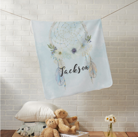 Personalized Baby Blanket  - Dream Catcher Watercolors Blue or Pink - Designs by Dee's Hands  - 1