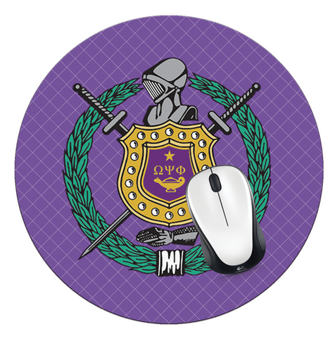 Omega Psi Phi Shied Mouse Pad, Omega Mouse Pad - Designs by Dee's Hands