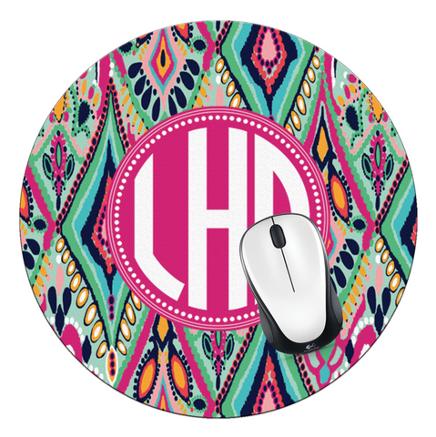 Crown Jewels Monogrammed Round Mouse Pad - Designs by Dee's Hands  - 1