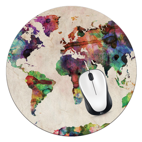 Watercolor World Map Mouse Pad - Designs by Dee's Hands