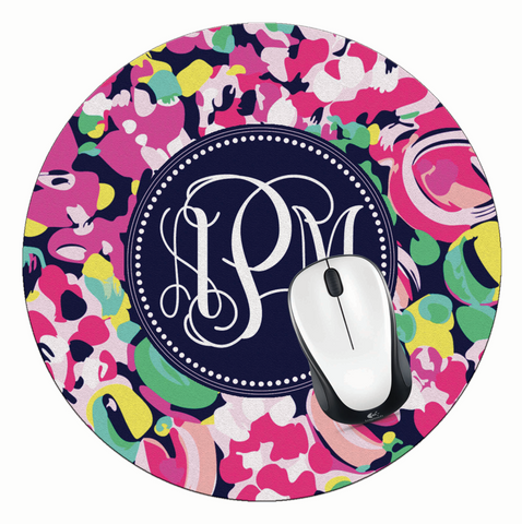 Blooms Monogrammed Round Mouse Pad - Designs by Dee's Hands  - 1