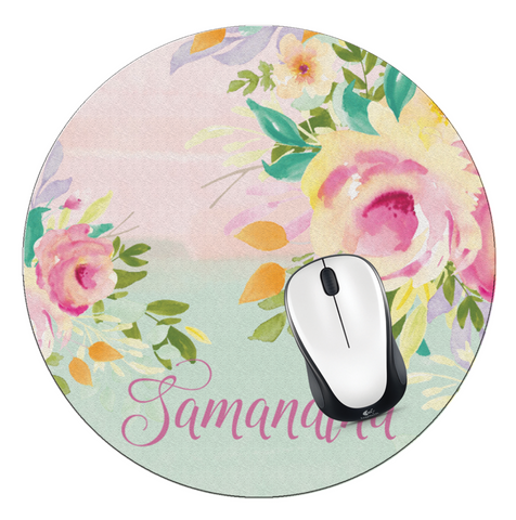 Floral Personalized Round Mouse Pad - Designs by Dee's Hands