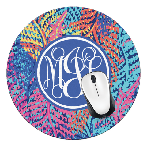 Electric Feel Monogrammed Round Mouse Pad - Designs by Dee's Hands  - 1