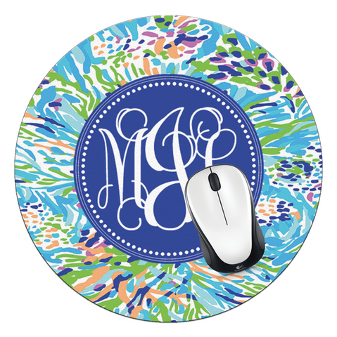 Sea by Soiree Monogrammed Round Mouse Pad - Designs by Dee's Hands  - 1