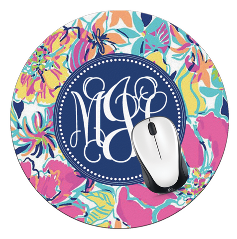 Besame Mucho Monogrammed Round Mouse Pad - Designs by Dee's Hands  - 1