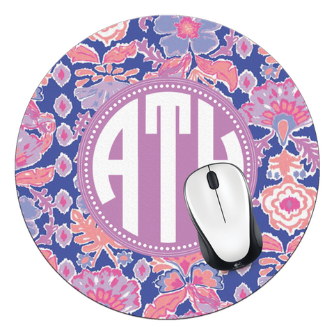 Iris Blue Werk It Monogrammed Round Mouse Pad - Designs by Dee's Hands  - 1