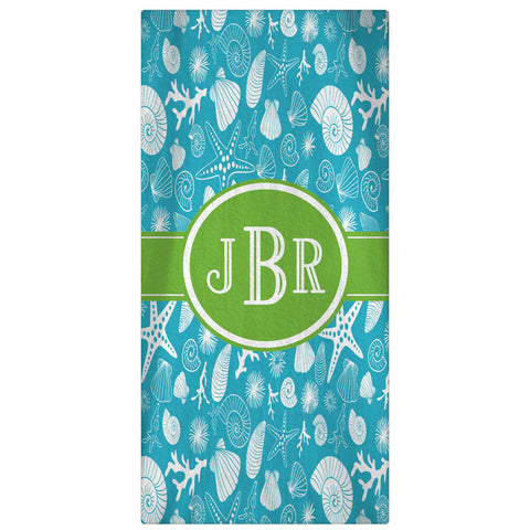 Personalized Beach Towel, Seashells & Starfish Monogrammed Towel - Chose from 64 Colors - Designs by Dee's Hands  - 1