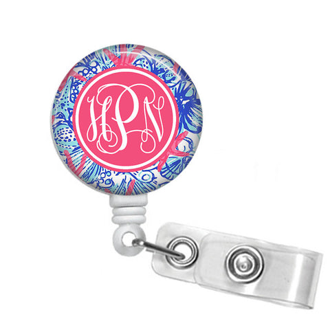 Badge Holder, Retractable Badge Reel - She She Shells - Designs by Dee's Hands  - 1