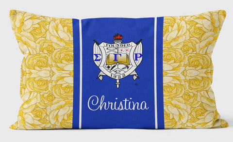 SGRho Personalized Pillow Case, Sigma Gamma Rho Sorority Yellow Roses - Designs by Dee's Hands