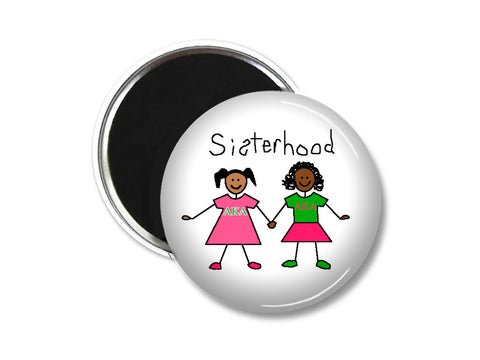 "AKA 3"" magnet - Sisterhood - Designs by Dee's Hands  - 1"
