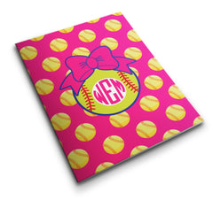 Personalized Pocket Folder Softballs & Bow - Designs by Dee's Hands  - 1
