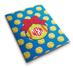 Personalized Pocket Folder Softballs & Bow - Designs by Dee's Hands  - 4