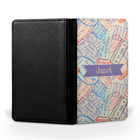 Personalized Passport Cover, Passport Holder - Stamps