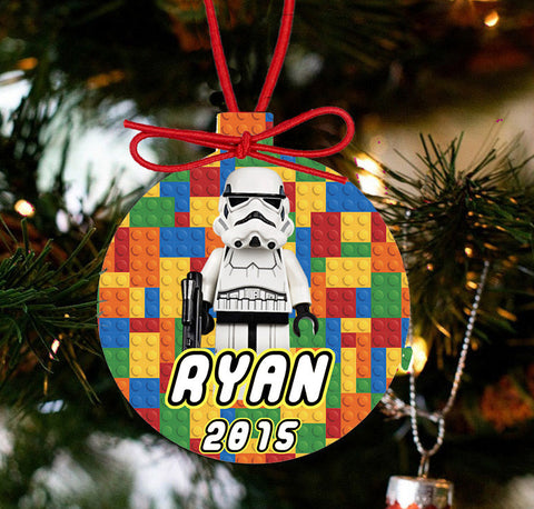 Personalized Christmas LEGO Ornament - Lego Movie Character Stormtrooper - Designs by Dee's Hands