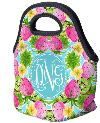 Lunch Tote, Monogrammed Lunch Bag - Strawberry Kiwi Smoothie - Designs by Dee's Hands