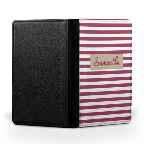 Personalized Passport Cover, Passport Holder - Stripes Simple