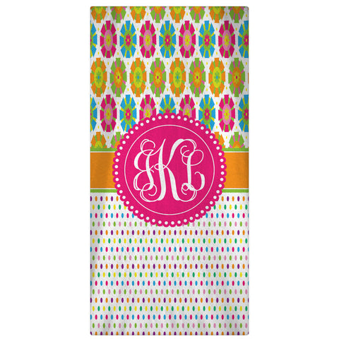 Personalized Beach Towel, Summertime Monogrammed Towel - Pastels - Designs by Dee's Hands  - 2