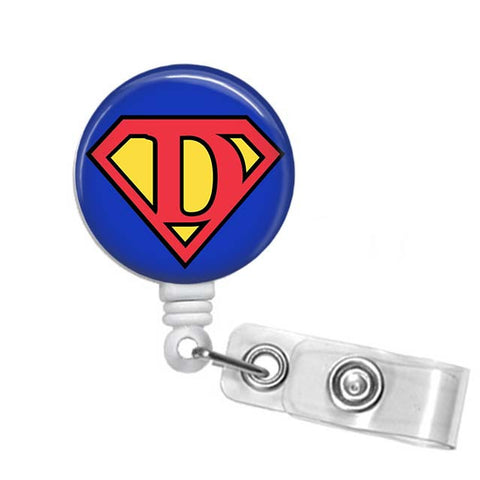 Badge Holder, Retractable Badge Reel, Superman Letter - Designs by Dee's Hands  - 1