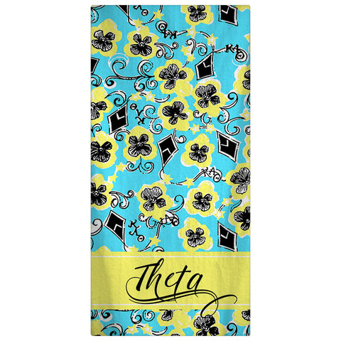Kappa Alpha Theta Beach Towel - Personalized Beach Towel, Sorority Towel - Designs by Dee's Hands